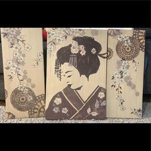 Geisha Wall Art Canvas Set